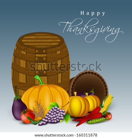 Happy Thanksgiving Day celebration concept with fruits, vegetables and empty wooden basket on blue background.  - stock vector