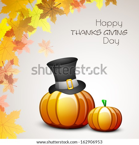Happy Thanksgiving Day celebration concept with pumpkin, pilgrim hat ad maples leaves on grey background, can be use as flyer, banner or poster.
