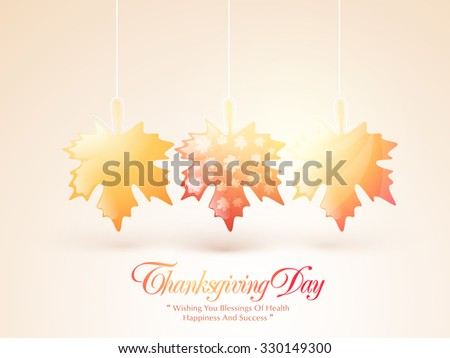 Happy Thanksgiving Day celebration with shiny hanging maple leaves on glossy background. - stock vector