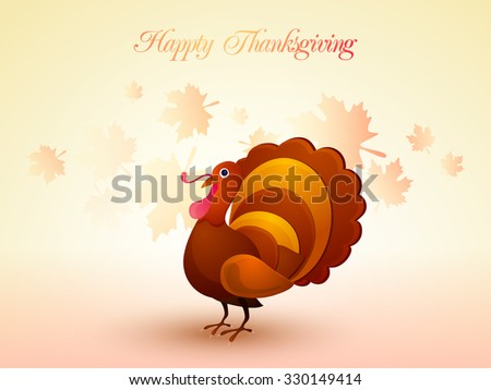 Happy Thanksgiving Day celebration with Turkey Bird on glossy maple leaves decorated background. - stock vector