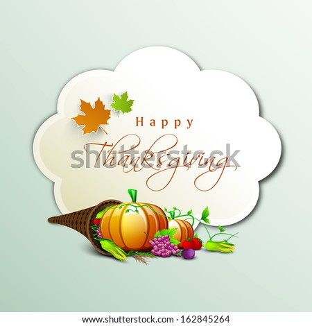 Happy Thanksgiving Day concept with fruits, vegetables, cone shape wooden basket, maple leaves and space for your wishes on green background.  - stock vector