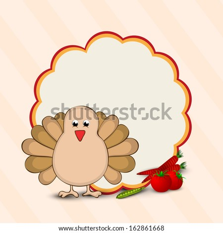 Happy Thanksgiving Day concept with turkey bird and blank space for your message on floral decorated background, can be use as flyer, banner or poster.  - stock vector