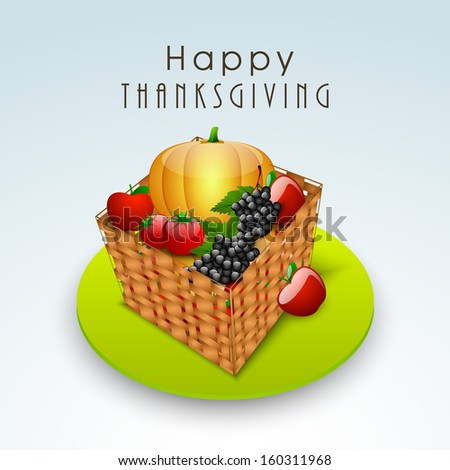 Happy Thanksgiving Day concept with wooden basket full of vegetables and fruits on green stage.  - stock vector