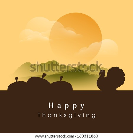 Happy Thanksgiving Day evening background with silhouette of pumpkins and turkey bird, can be use as flyer, banner or poster.  - stock vector