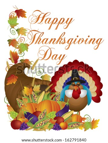 Happy Thanksgiving Day Fall Harvest Cornucopia and Pilgrim Turkey with Pumpkin Eggplant Grapes Corns Apples Leaves and Twine Vector Illustration