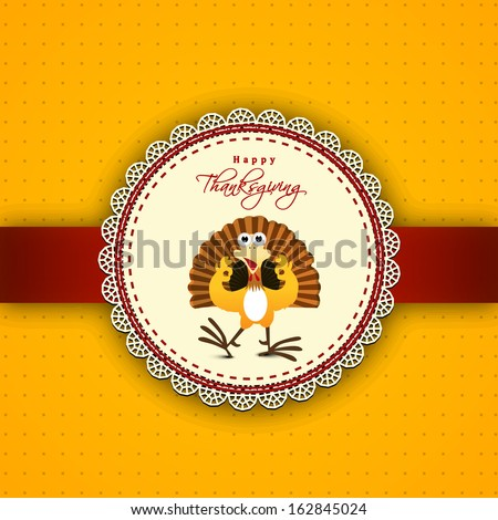 Happy Thanksgiving Day greeting card or invitation card with happy turkey bird on yellow and red background.  - stock vector