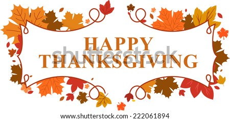 happy Thanksgiving day leaves banner - stock vector