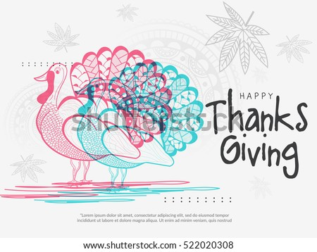 Happy Thanksgiving Day line art style colorful turkey bird card.Happy Thanksgiving poster or banner.
