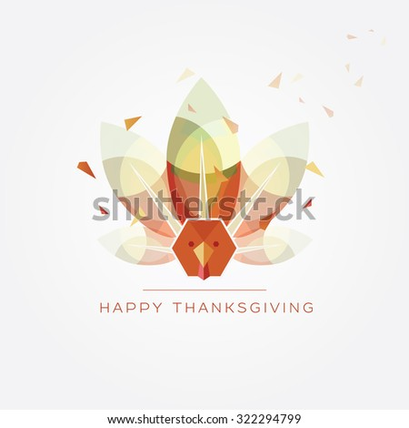 Happy Thanksgiving Day Vector Illustration In Modern Geometric Design Style With Abstract Polygonal Turkey Colorful