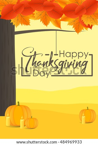 Happy Thanksgiving Day. Vector Illustration with Hand Lettered Text and Autumn landscape
