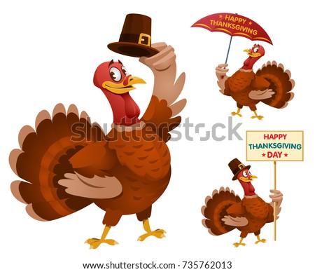 happy thanksgiving day funny cartoon turkeys stock vector 735762013
