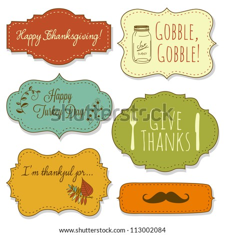 Happy Thanksgiving frames - stock vector