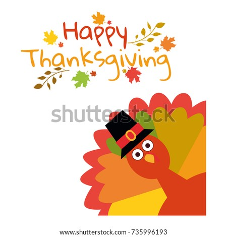Happy Thanksgiving. Greeting card with funny cartoon turkey autumnal background. Vector illustration