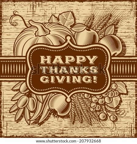 Happy Thanksgiving Retro Card. Fully editable monochrome vector. - stock vector