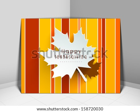 Happy Thanksgiving vintage greeting card with maple leaf design.  - stock vector