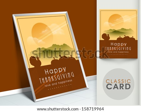 Happy Thanksgiving vintage greeting card with silhouette of turkey bird on morning nature background.  - stock vector