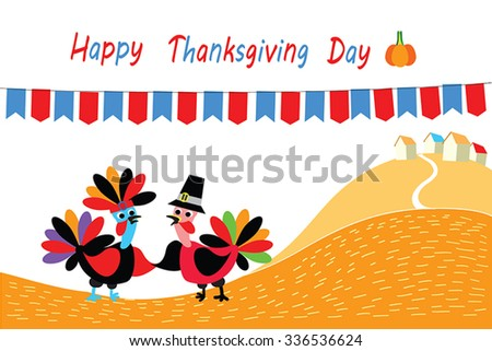 Happy Thanksgivings  vector illustration - two cartoon of turkey bird as native american and pilgrim shake hands (wings). Orange autumn hill, village and flags on background. Flat greeting card. - stock vector