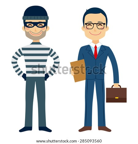 Happy thief and confident lawyer funny cartoon characters - stock vector