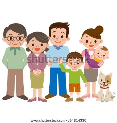 Happy three generation family of smile - stock vector