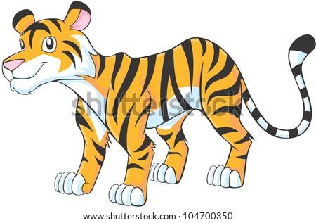 Happy Tiger Cartoon - stock vector