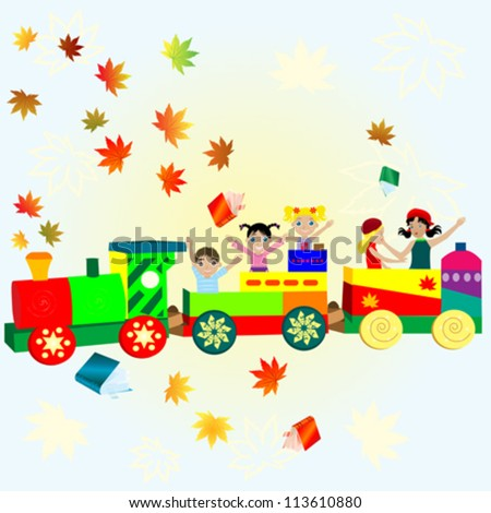 happy to go to school kids in a train, vector illustration - stock vector