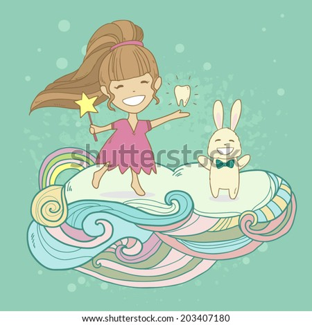 Happy tooth fairy princess with tooth and rabbit on abstract cloud. Vector cute illustration - stock vector