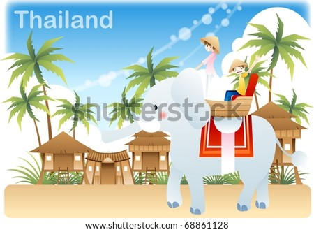 Happy Tour with Cute Friends - traveling in Thai with young female and male in summer vacation on a background of blue sky and white clouds : vector illustration - stock vector