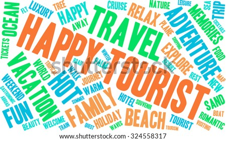 Happy Tourist word cloud on a white background.
