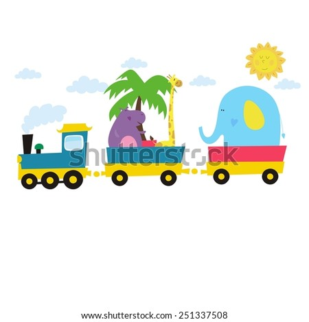 happy  train zoo card - stock vector