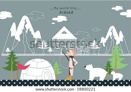 Happy Travel - cute young man with rod and line in beautiful famous nature of alaska on gray(grey) background : vector illustration - stock vector
