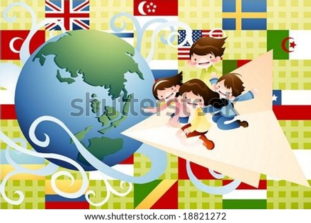 Happy Travel - flying by paper airplane all around the world with cute friends on a background of green patterns : vector illustration - stock vector