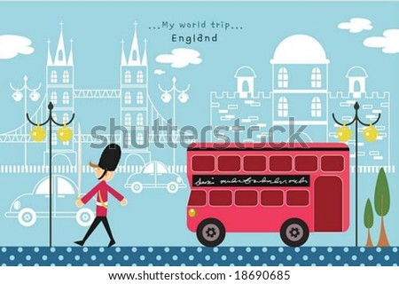 Happy Travel - guarding young British soldier with red double decker bus and famous traditional architectures in a street of beautiful city park on romantic blue background : vector illustration - stock vector