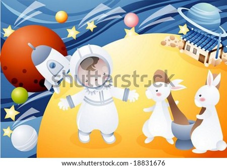 Happy Travel - lovely cute young baby, pretty rabbits with space shuttle landing and asian traditional house on surface of moon on background of blue wave pattern, beautiful stars and colorful planets - stock vector