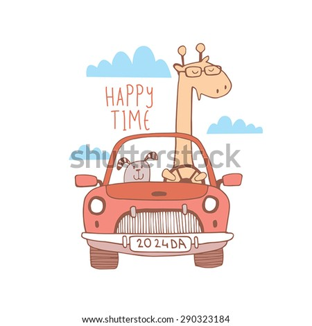 Happy traveling background. Happy Time - stock vector