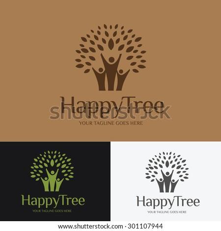 Happy tree, People, Family, Vector logo template - stock vector