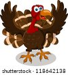 happy Turkey Cartoon - stock vector