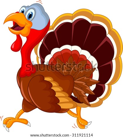 happy turkey cartoon for your design  - stock vector