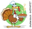 Happy Turkey Chef With Hot Pumpkin Pie - stock vector