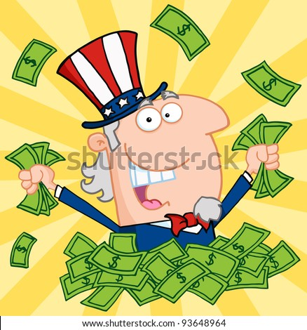 Happy Uncle Sam Playing In A Pile Of Money - stock vector