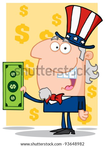 Happy Uncle Sam With Holding A Dollar Bill - stock vector
