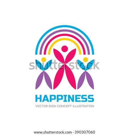 Happy Union - vector logo concept illustration. Human character logo. People logo. Abstract people logo. Vector logo template. Design element. - stock vector