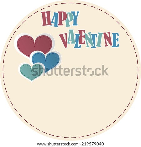 happy valentine card circle text and tree heart - stock vector