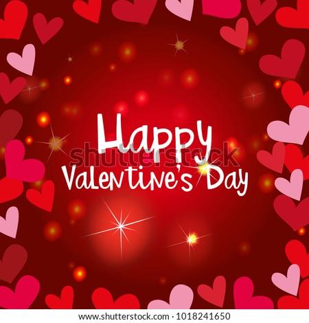 Happy Valentine Card Template Shiny Hearts Stock Vector HD (Royalty ...