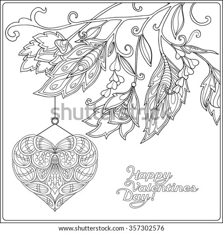 Coloring Pictures Of Valentines Day Cards. Happy Valentine Day card with Decorative Love Heart and flowers  Coloring book for adult Card Stock Vector 357302576