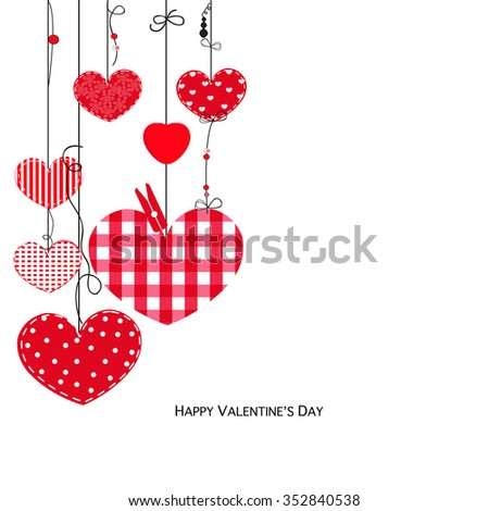 Happy Valentine Day card with hanging love hearts - stock vector