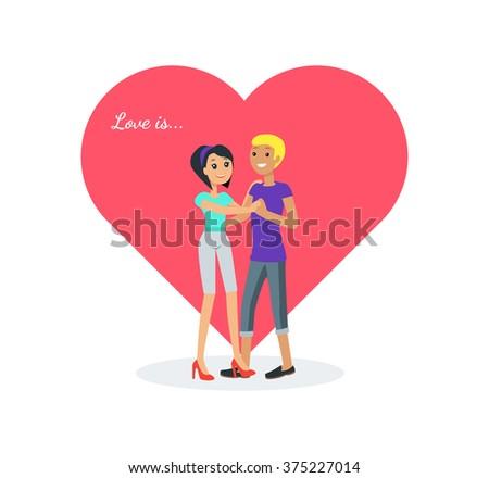 Happy valentine day couple dancing design flat. Valentines day, happy valentine, couple love, young couple, love and happy couple, woman and man couple, celebration pair, people romantic. Love is - stock vector