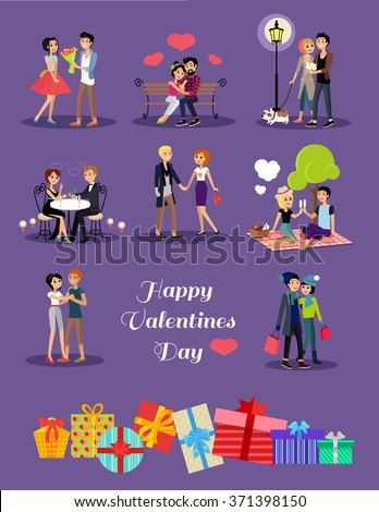 Happy valentine day couple on date. Couple lover on valentine day, happy valentine, couple in love young couple, shopping love happy couple, woman man restaurant, holiday valentine day man give flower - stock vector