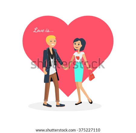 Happy valentine day couple on date. Man hold woman. Valentine and day, couple and valentines day, happy valentine, couple in love, young couple, love and happy couple, flower and event. Love is - stock vector
