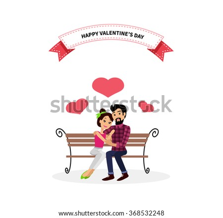 Happy valentine day couple sitting on bench. Happy valentine, couple love, young couple, happy couple, woman hug man, couple happy, lover celebration valentine day, romantic relationship illustration - stock vector