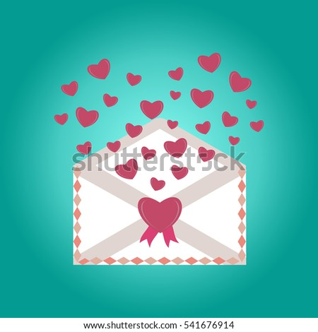 happy valentine day envelope with paper hearts vector illustration love mail envelope letter paper